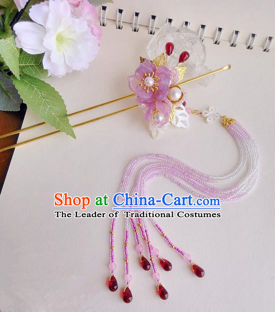 Traditional Handmade Chinese Ancient Princess Classical Accessories Jewellery Coloured Glaze Hair Sticks Hair Jewellery, Pearl Hair Fascinators Hairpins for Women