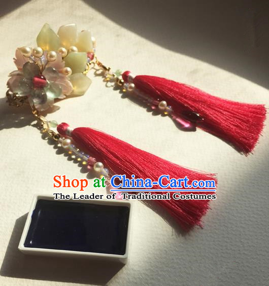 Traditional Handmade Chinese Ancient Princess Classical Hanfu Accessories Jewellery Coloured Glaze Hair Sticks Hair Jewellery, Tassel Hair Fascinators Hairpins for Women