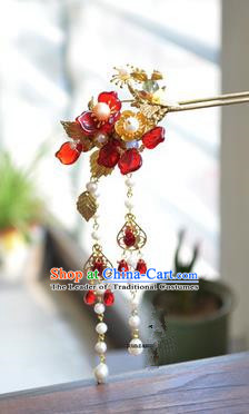 Traditional Handmade Chinese Ancient Princess Classical Hanfu Accessories Jewellery Red Flowers Coloured Glaze Hair Sticks Hair Jewellery, Tassel Hair Fascinators Hairpins for Women