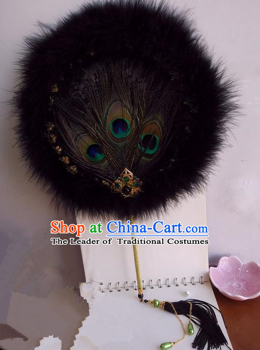 Traditional Chinese Handmade Ancient Hanfu Cosplay Round Peacock Feathers Fan Props for Women