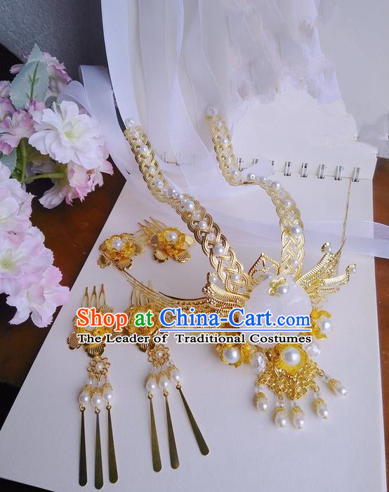 Traditional Handmade Chinese Ancient Classical Hair Accessories Complete Set, Pearl Hair Sticks Tassel Hair Jewellery, Hair Fascinators Hairpins for Women
