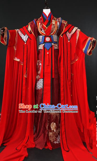 Traditional Ancient Chinese Imperial Emperor Wedding Costume Complete Set, Elegant Hanfu Palace King Red Robe, Chinese Han Dynasty Majesty Tailing Embroidered Clothing for Men