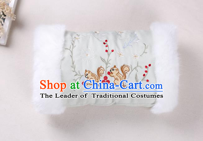 Traditional Ancient Chinese Embroidered Hanfu Muff Embroidered Squirrel Green Handwarmers for Women