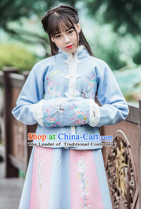 Traditional Ancient Chinese Embroidered Hanfu Muff Embroidered Swallow Blue Handwarmers for Women