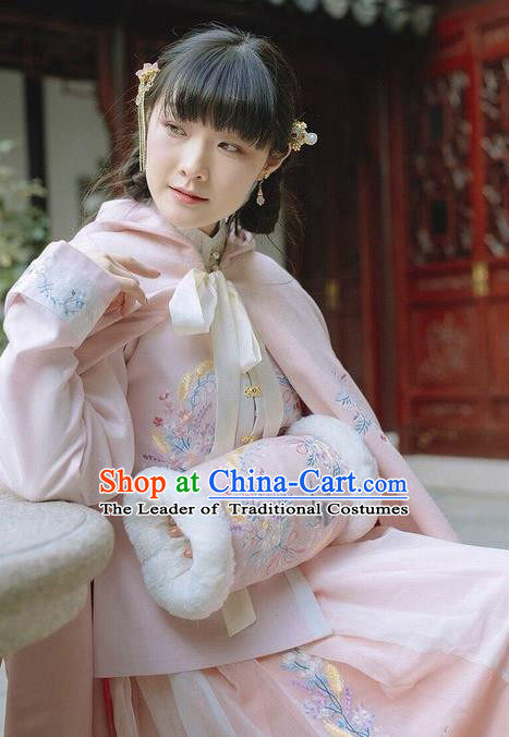 Traditional Ancient Chinese Embroidered Hanfu Muff Embroidered Swallow Pink Handwarmers for Women