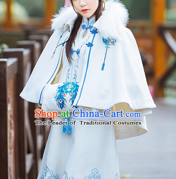 Traditional Ancient Chinese Embroidered Hanfu Muff Embroidered Peacock Feathers White Handwarmers for Women