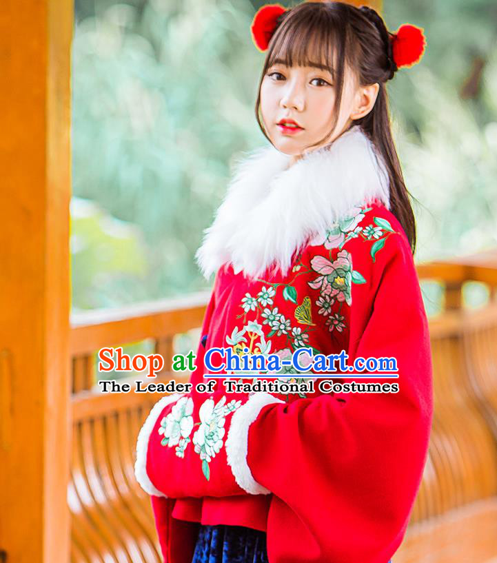 Traditional Ancient Chinese Embroidered Hanfu Muff Embroidered Penoy Red Handwarmers for Women