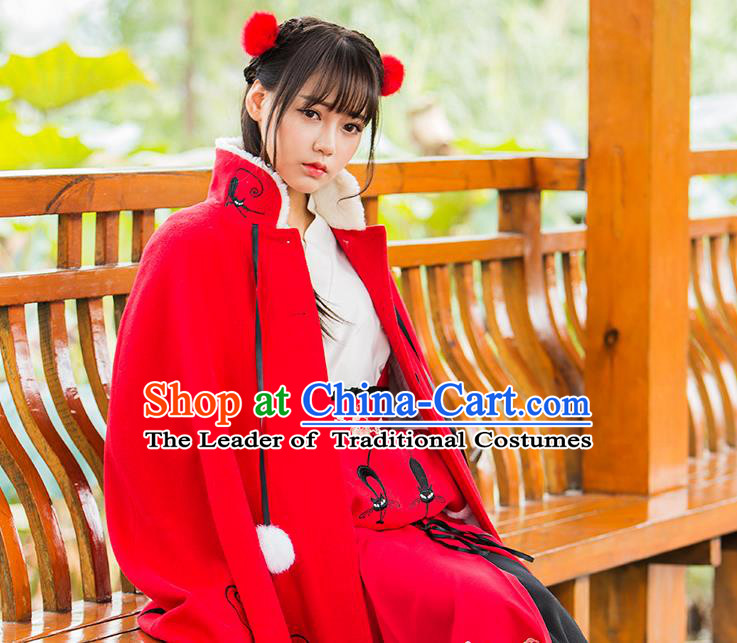 Traditional Ancient Chinese Embroidered Hanfu Muff Embroidered Tanuki Red Handwarmers for Women
