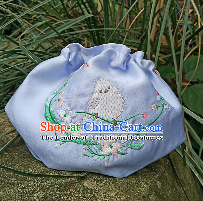 Traditional Ancient Chinese Embroidered Hanfu Handbags Embroidered Bird Blue Bag for Women