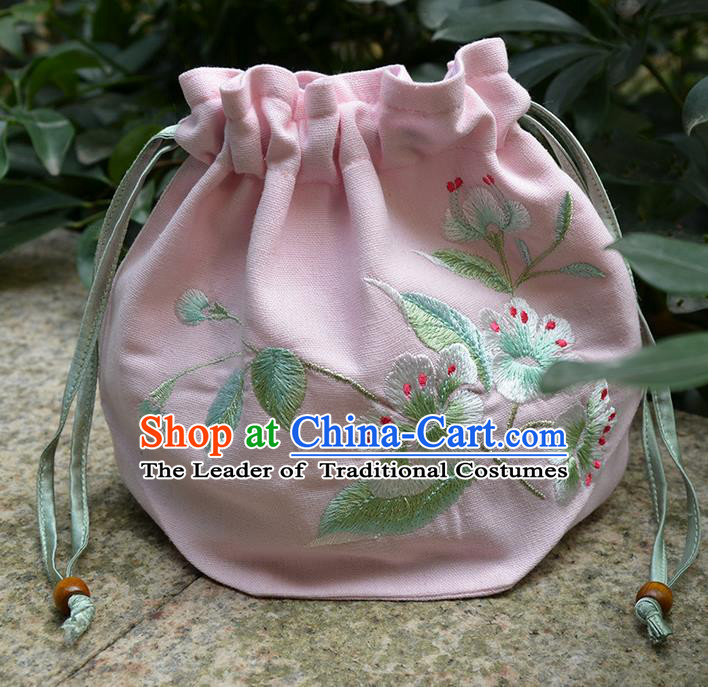 Traditional Ancient Chinese Embroidered Hanfu Handbags Double Size Embroidered Pink Bag for Women