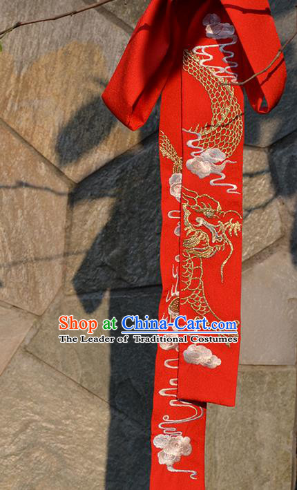 Traditional Ancient Chinese Embroidered Hanfu Hair Snood Embroidered Dragon Red Silk Bandeau for Women