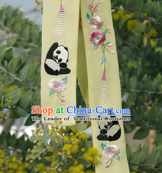 Traditional Ancient Chinese Embroidered Hanfu Hair Snood Embroidered Panda Yellow Silk Bandeau for Women