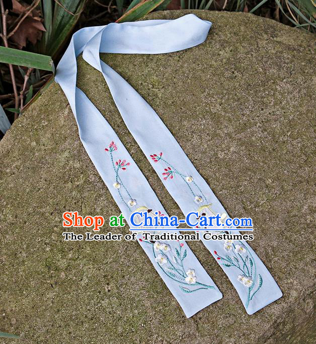 Traditional Ancient Chinese Embroidered Hanfu Hair Snood Embroidered Bird Blue Silk Bandeau for Women