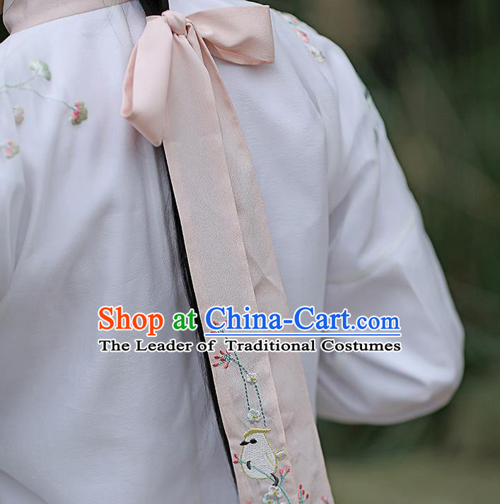 Traditional Ancient Chinese Embroidered Hanfu Hair Snood Embroidered Bird Pink Silk Bandeau for Women