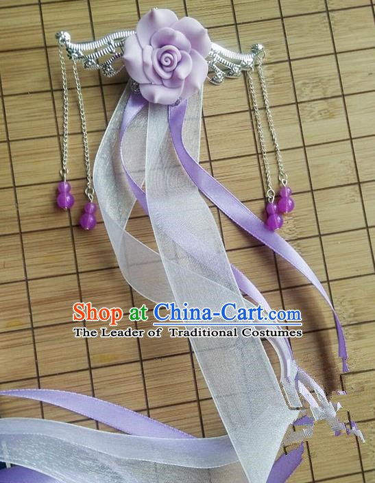 Traditional Handmade Chinese Ancient Princess Classical Accessories Jewellery Hanfu Hair Sticks Long Ribbon Lilac Hair Claws, Hair Fascinators Hairpins for Women