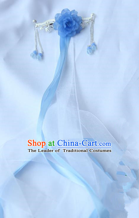Traditional Handmade Chinese Ancient Princess Classical Accessories Jewellery Hanfu Hair Sticks Long Ribbon Blue Hair Claws, Hair Fascinators Hairpins for Women