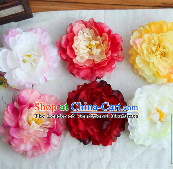 Traditional Handmade Chinese Ancient Princess Classical Silk Peony Accessories, Flowers Hair Fascinators Hairpins for Women