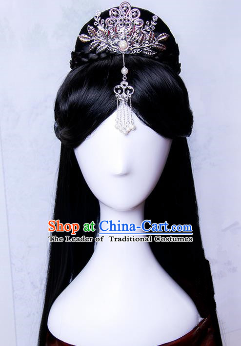Traditional Handmade Ancient Chinese Tang Dynasty Princess Hair Decoration and Wig Complete Set, Ancient Chinese Empress Headwear and Wig for Women