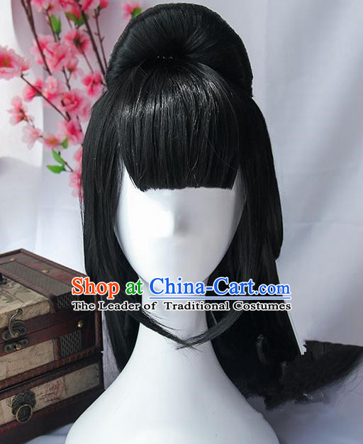 Traditional Handmade Ancient Chinese Han Dynasty Princess Wig, Ancient Chinese Palace Young Lady Wig for Women