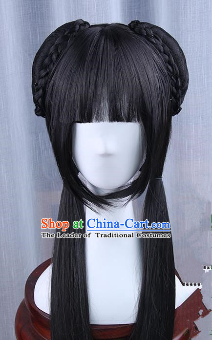 Chinese Ancient Swordsman Long Wig Set
