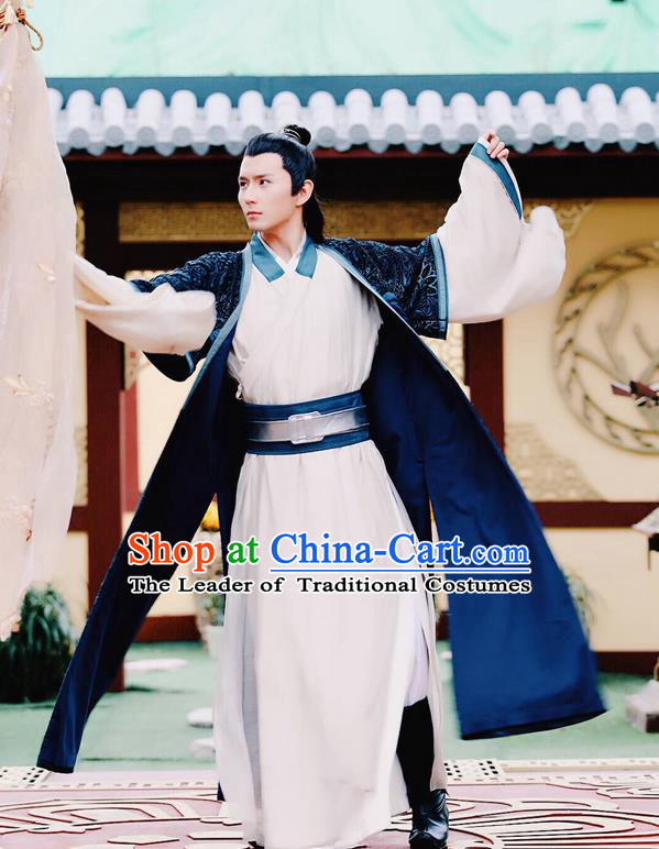 Traditional Ancient Chinese Imperial Prince Costume, Elegant Hanfu Nobility Childe Robe, Chinese Han Dynasty Swordsman Clothing for Men