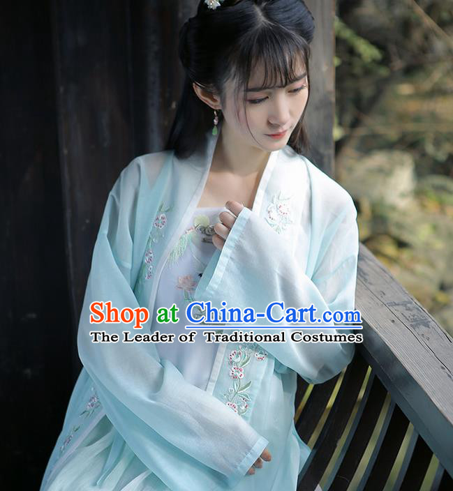 Traditional Ancient Chinese Female Costume Embroidered Flowers Blue Cardigan, Elegant Hanfu Clothing Chinese Ming Dynasty Embroidered Palace Princess Dress for Women