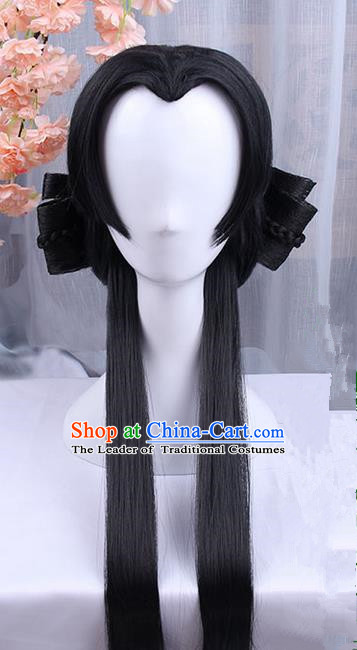 Traditional Handmade Ancient Chinese Song Dynasty Imperial Princess Wig, Ancient Chinese Young Lady Wig for Women