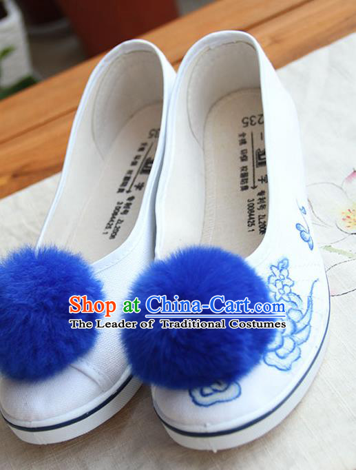Traditional Handmade Ancient Chinese Han Dynasty Imperial Princess Freehand Sketching Blue Hair Bulb Shoes for Women