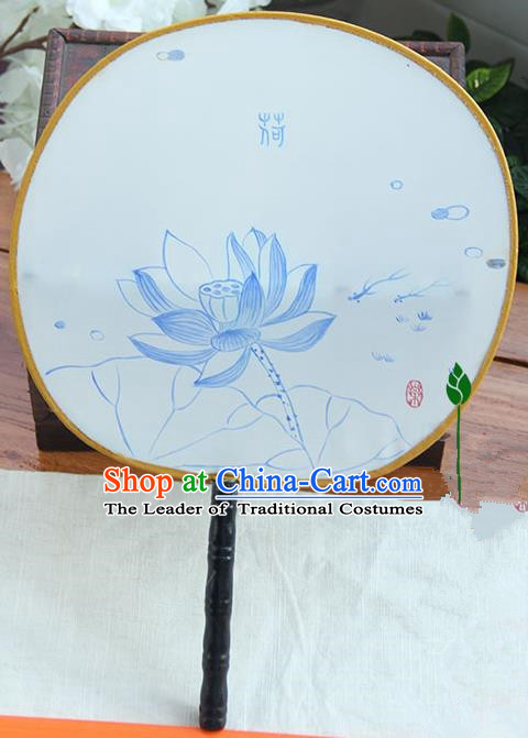 Traditional Handmade Ancient Chinese Tang Dynasty Imperial Princess Painting Lotus Palace Lady Round Hanfu Silk Fan for Women
