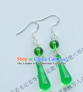 Traditional Handmade Chinese Ancient Princess Classical Hanfu Accessories Jewellery Green Crystal Earrings Eardrop for Women
