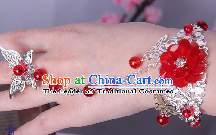 Traditional Handmade Chinese Ancient Princess Classical Hanfu Accessories Jewellery Red Flower Butterfly Bracelet and Ring Chain for Women