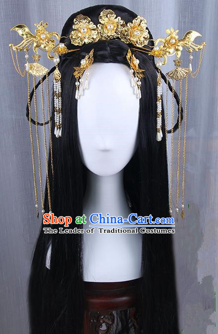 Traditional Handmade Ancient Chinese Han Dynasty Imperial Princess Peony Tassels Hair Decoration Hairpin and Wig Complete Set, Ancient Chinese Hanfu Cosplay Fairy Queen Young Lady Headwear and Wig for Women