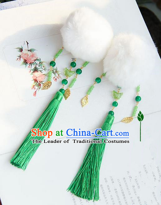 Traditional Handmade Chinese Ancient Princess Classical Hanfu Accessories Jewellery Venonat Green Tassel Hair Step Shake Hair Claws, Hanfu Tassel Hair Fascinators Hairpins for Women