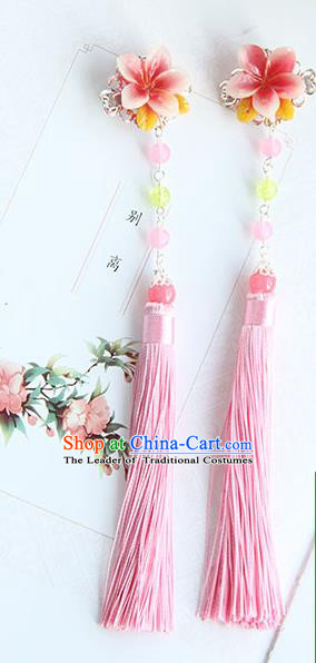 Traditional Handmade Chinese Ancient Princess Classical Hanfu Accessories Jewellery Silk Flowers Pink Tassel Hair Step Shake Hair Claws, Tassel Hair Fascinators Hairpins for Women