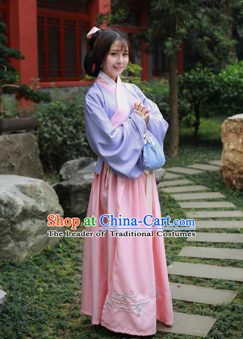 Traditional Ancient Chinese Female Costume Embroidered Flowers Lilac Blouse and Dress Complete Set, Elegant Hanfu Clothing Chinese Ming Dynasty Embroidered Palace Princess Clothing for Women