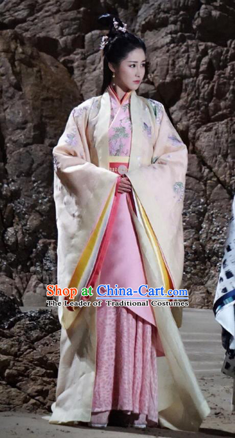 Traditional Ancient Chinese Imperial Empress Costume, Elegant Hanfu Dress Chinese Han Dynasty Imperial Princess Tailing Embroidered Clothing for Women