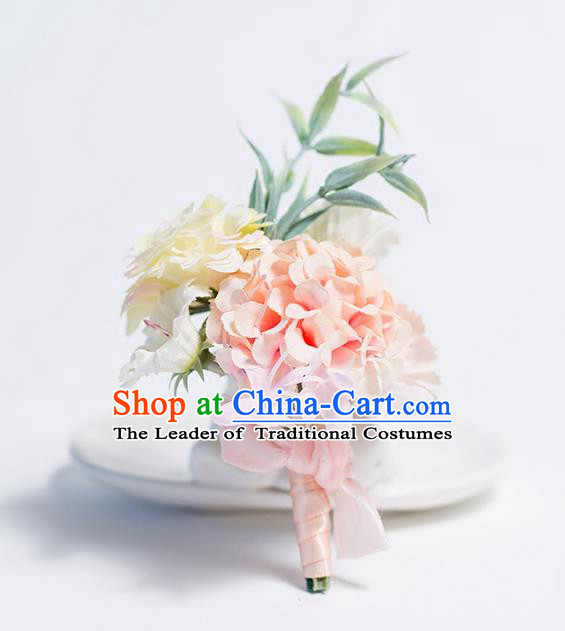 Top Grade Classical Wedding Silk Flowers,Groom Emulational Corsage Pink White Brooch Flowers for Men