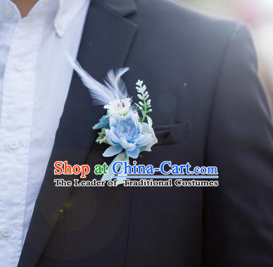 Top Grade Classical Wedding Silk Flowers,Groom Emulational Corsage Groomsman Blue Feather Brooch Flowers for Men