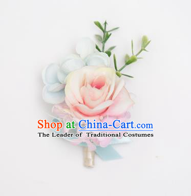 Top Grade Classical Wedding Silk Flowers,Groom Emulational Corsage Groomsman Pink Blue Brooch Flowers for Men