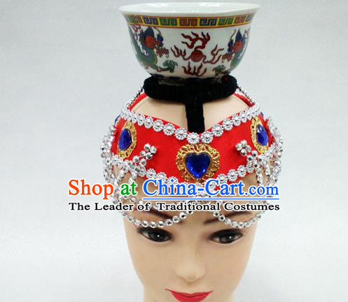 Traditional Chinese Mongol Nationality Dancing Accessories Headdress, Mongolian Folk Dance Ethnic Headwear Top Bowl Dance Red Hat for Women