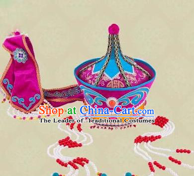 Traditional Chinese Mongol Nationality Dancing Accessories Headdress, Mongolian Folk Dance Ethnic Headwear China Minority Palace Princess Dance Purple Hat for Women