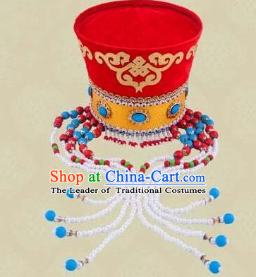 Traditional Chinese Mongol Nationality Dancing Accessories Headdress, Mongolian Folk Dance Ethnic Headwear China Minority Palace Princess Dance Bead Red Hat for Women