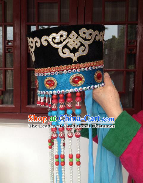 Traditional Chinese Mongol Nationality Dancing Accessories Headdress, Mongolian Folk Dance Ethnic Headwear China Minority Palace Princess Dance Bead Black Hat for Women