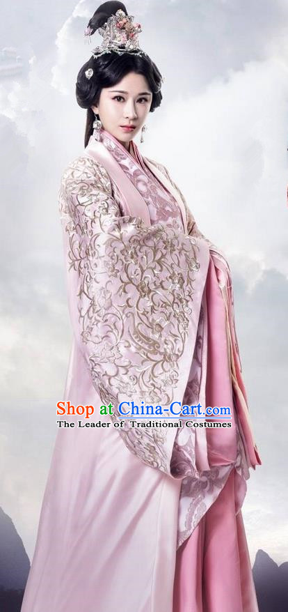 Traditional Ancient Chinese Imperial Consort Costume, Elegant Hanfu Palace Princess Dress Han Dynasty Imperial Concubine Embroidered Tailing Clothing for Women
