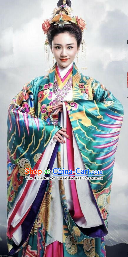 Traditional Ancient Chinese Imperial Consort Costume, Elegant Hanfu Palace Princess Phoenix Dress Han Dynasty Imperial Concubine Embroidered Tailing Clothing for Women