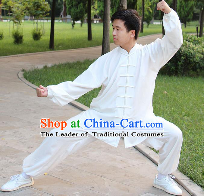 Traditional Chinese Top Silk Cotton Kung Fu Costume Martial Arts Kung Fu Training Long Sleeve White Uniform, Tang Suit Gongfu Shaolin Wushu Clothing, Tai Chi Taiji Teacher Suits Uniforms for Men