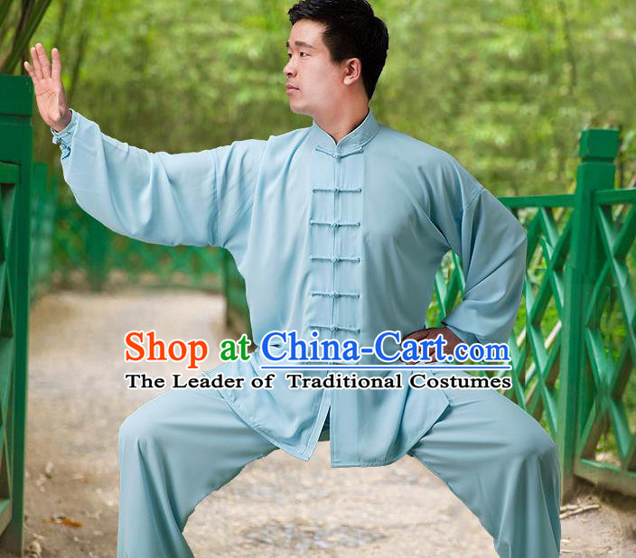 Traditional Chinese Top Silk Cotton Kung Fu Costume Martial Arts Kung Fu Training Long Sleeve Blue Uniform, Tang Suit Gongfu Shaolin Wushu Clothing, Tai Chi Taiji Teacher Suits Uniforms for Men