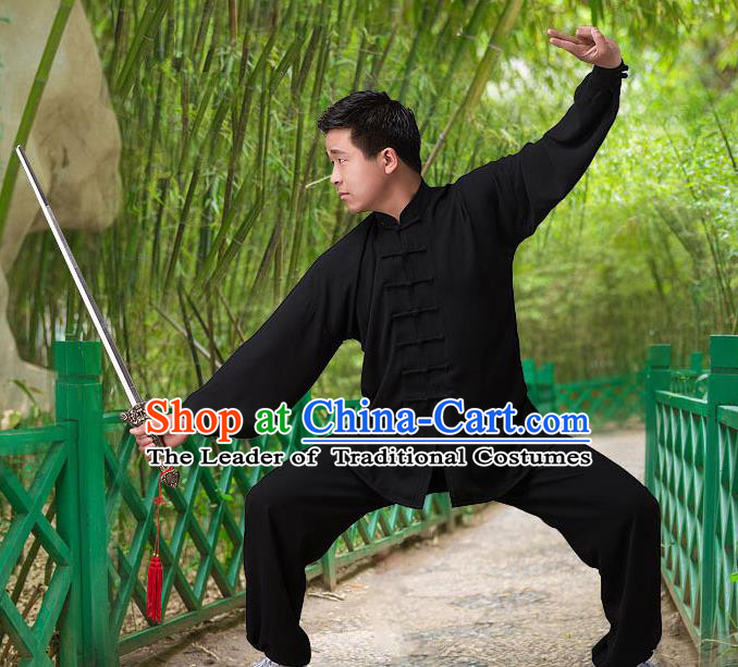 Traditional Chinese Top Silk Cotton Kung Fu Costume Martial Arts Kung Fu Training Long Sleeve Black Uniform, Tang Suit Gongfu Shaolin Wushu Clothing, Tai Chi Taiji Teacher Suits Uniforms for Men