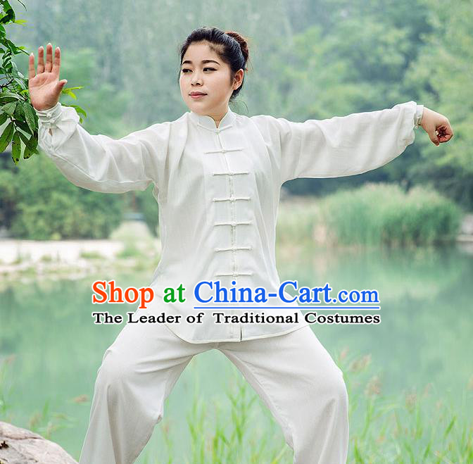 Traditional Chinese Top Silk Cotton Kung Fu Costume Martial Arts Kung Fu Training Long Sleeve White Uniform, Tang Suit Gongfu Shaolin Wushu Clothing, Tai Chi Taiji Teacher Suits Uniforms for Women