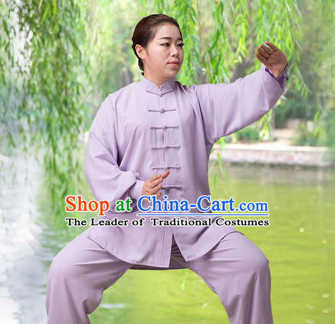Traditional Chinese Top Silk Cotton Kung Fu Costume Martial Arts Kung Fu Training Long Sleeve Purple Uniform, Tang Suit Gongfu Shaolin Wushu Clothing, Tai Chi Taiji Teacher Suits Uniforms for Women